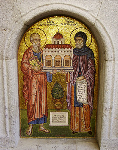 Patmos. Icon of Christodulos and John the Theologian. Photo by Ferrell Jenkins. BiblicalStudies.info.