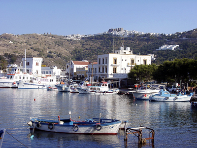 Patmos. Port of Skala toward monastery at Chora. Photo by Ferrell Jenkins. BiblicalStudies.info